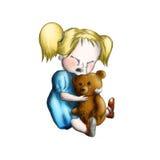 Het schreeuwende meisje met stuk speelgoed draagt Stock Fotografie