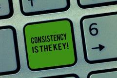 Het schrijven de nota die Consistentie tonen is de Sleutel De bedrijfsfoto die volledige Toewijding demonstreren aan een Taak gew stock afbeeldingen