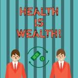 Het schrijven de nota die Gezondheid tonen is Rijkdom De bedrijfsfoto demonstratie die gezond in het goede Verblijf van de vorm g royalty-vrije illustratie