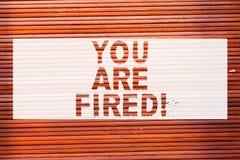 Het schrijven de nota die u in brand gestoken tonen wordt Bedrijfsfoto demonstratie het Weggaan van de baan en geworden werkloos  stock foto's