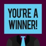 Het schrijven de nota die u tonen aangaande is een Winnaar Bedrijfsfoto demonstratie het Winnen als 1st plaats of kampioen in a vector illustratie