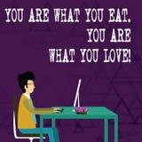 Het schrijven de nota die u is tonen Wat u u bent eet van Wat u houdt Bedrijfsfoto demonstratiebegin om gezond voedsel te eten royalty-vrije illustratie