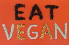 Het schrijven eet Veganist Stock Foto