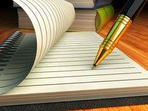 Het schrijven en onderwijs, ondertekenend contract of overeenkomsten bedrijfsconcept Royalty-vrije Stock Afbeeldingen