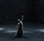 Het schrijven gedichten op een sneeuwnacht 6-handeling 1: Er is een andere knop royalty-vrije stock afbeelding