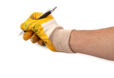 Het schrijven met handschoenen   royalty-vrije stock fotografie