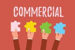 Het schrijven nota Commercieel tonen De bedrijfsfoto demonstratie Betroffen met of belast met handel bedoelde winst te maken royalty-vrije illustratie