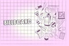 Het schrijven nota die Aanplakbord tonen Bedrijfsfoto die grote openluchtraad voor het tonen van reclame het hamsteren demonstrer stock illustratie