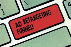 Het schrijven nota die Advertentie tonen die Trechter opnieuw cibleren De bedrijfsfoto die Strevend relevante advertenties aan di royalty-vrije stock afbeeldingen