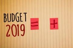 Het schrijven nota die Begroting 2019 tonen Bedrijfsfoto's die Nieuwe jaarraming van inkomens en uitgaven Financiële PlanIdeas de stock afbeelding