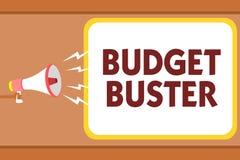 Het schrijven nota die Begrotingsbreker tonen Bedrijfsfoto die de Onbezorgde Bestedende de Te hoge uitgavenmens demonstreren van  royalty-vrije illustratie