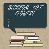 Het schrijven nota die Bloesem zoals Bloem tonen E vector illustratie