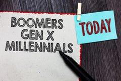 Het schrijven nota die Boomers Gen X Millennials tonen De bedrijfsfoto demonstratie dacht over het algemeen na om ongeveer dertig royalty-vrije stock afbeeldingen