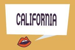 Het schrijven nota die Californië tonen Bedrijfsfoto demonstrerende Staat op de Stranden Hollywood van de westkustverenigde state royalty-vrije stock foto