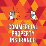 Het schrijven nota die Commercieel eigendomverzekering tonen De bedrijfsfoto demonstratie biedt bescherming tegen de meeste risic vector illustratie