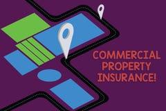 Het schrijven nota die Commercieel eigendomverzekering tonen De bedrijfsfoto demonstratie biedt bescherming tegen de meeste risic stock illustratie