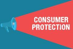 Het schrijven nota die Consumentenbescherming tonen Bedrijfsfoto die Eerlijke Handelswetten demonstreren om de Rechten Van de con stock illustratie