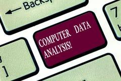 Het schrijven nota die de Analyse van Computergegevens tonen Bedrijfsfoto die gebruikend computer om kwalitatieve gegevens bij te royalty-vrije stock fotografie