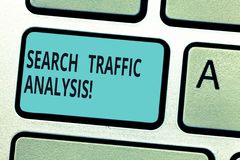 Het schrijven nota die de Analyse van het Zoekenverkeer tonen De bandbreedtecontrolesoftware van het bedrijfsfoto demonstratienet stock afbeeldingen