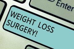 Het schrijven nota die de Chirurgie van het Gewichtsverlies tonen Zaken foto de demonstratie doet op maagdarmen helpen aantonend stock foto's