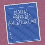 Het schrijven nota die Digitaal Gerechtelijk Onderzoek tonen Bedrijfsfoto demonstratieterugwinning van informatie van computers G vector illustratie