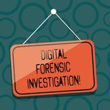 Het schrijven nota die Digitaal Gerechtelijk Onderzoek tonen Bedrijfsfoto demonstratieterugwinning van informatie van computers vector illustratie