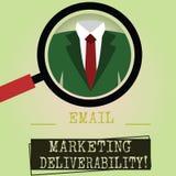 Het schrijven nota die E-mail tonen die Deliverability op de markt brengen Bedrijfsfoto demonstratiecapaciteit om e-mail aan abon stock illustratie