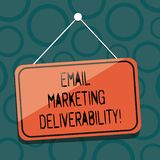 Het schrijven nota die E-mail tonen die Deliverability op de markt brengen Bedrijfsfoto demonstratiecapaciteit om e-mail aan abon vector illustratie