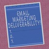 Het schrijven nota die E-mail tonen die Deliverability op de markt brengen Bedrijfsfoto demonstratiecapaciteit om e-mail aan Gevo vector illustratie