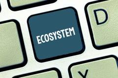 Het schrijven nota die Ecosysteem tonen Bedrijfsfoto die biologische gemeenschap van op elkaar inwerkend organismen en milieu dem royalty-vrije stock afbeelding