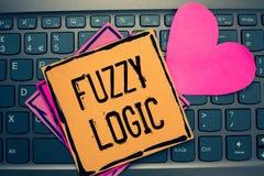 Het schrijven nota die Fuzzy Logic tonen De bedrijfsfoto demonstratie controleert omvang van vuil en vethoeveelheid zeep en water royalty-vrije stock afbeeldingen