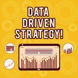Het schrijven nota die Gegevens Gedreven Strategie tonen Bedrijfsdiefoto demonstratiebesluiten op gegevensanalyse en interpretati royalty-vrije illustratie