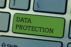 Het schrijven nota die Gegevensbescherming tonen De bedrijfsfoto demonstratie beschermt IP adressen en persoonsgegevens tegen sch royalty-vrije stock fotografie