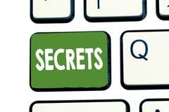 Het schrijven nota die Geheimen tonen Bedrijfsfoto demonstratie Gehouden door anderen Vertrouwelijke Geclassificeerd Privé onbeke stock foto
