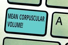 Het schrijven nota die Gemiddeld Corpusculair Volume tonen Bedrijfsfoto die gemiddeld volume van een rood bloedlichaampje demonst stock foto