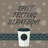 Het schrijven nota die Gespleten Testende Strategie tonen Bedrijfsfoto die leidend experimenten om website metrische 3D Koffie te stock illustratie