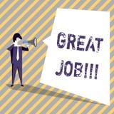 Het schrijven nota die Grote Baan tonen Bedrijfsfoto die het Uitstekende Compliment van het werk Goed uitgevoerde Goede resultate royalty-vrije illustratie