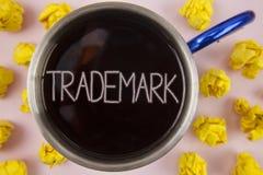 Het schrijven nota die Handelsmerk tonen Bedrijfsfoto die het juridisch geregistreerde Intellectuele eigendom Bescherming geschre vector illustratie