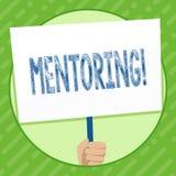 Het schrijven nota die Hoede tonen Bedrijfsfoto demonstratie om advies of steun aan jongere minder ervaren te geven vector illustratie
