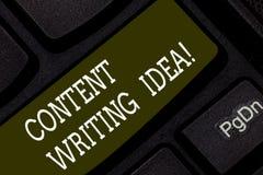 Het schrijven nota die Inhoud het Schrijven Idee tonen Bedrijfsfoto demonstratieconcepten bij het schrijven van campagnes om prod stock foto's