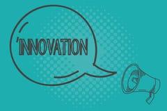 Het schrijven nota die Innovatie tonen Bedrijfsfoto die Nieuwe voordien gekend niet het product Verschillende Creatief demonstrer stock illustratie