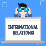 Het schrijven nota die Internationale Relaties tonen Bedrijfsfoto demonstratiemanier waarin twee of meer naties met interactie aa royalty-vrije illustratie
