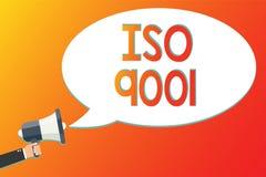 Het schrijven nota die ISO 9001 tonen De bedrijfsfoto die in het leven geroepen te verzekeren hulporganisaties demonstreren voldo vector illustratie