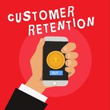 Het schrijven nota die Klantenbehoud tonen De bedrijfsfoto die Houdend loyale klanten behoudt velen mogelijk demonstreren vector illustratie