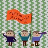 Het schrijven nota die Medisch advies tonen Bedrijfsfoto demonstratiebegeleiding van een gezondheidszorgdeskundige over aantonend stock illustratie