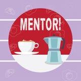 Het schrijven nota die Mentor tonen Bedrijfsfoto demonstrerende Persoon die advies of steun aan jongere minder ervaren geeft stock illustratie