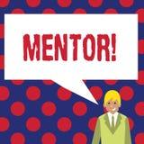 Het schrijven nota die Mentor tonen Bedrijfsfoto demonstrerende Persoon die advies of steun aan jongere minder ervaren geeft royalty-vrije illustratie
