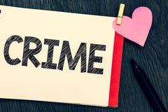 Het schrijven nota die Misdaad tonen Bedrijfsfoto die de Federale Onwettige Activiteiten van Inbreukacties strafbaar door Wet dem royalty-vrije stock afbeeldingen