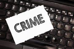 Het schrijven nota die Misdaad tonen Bedrijfsfoto die de Federale Onwettige Activiteiten van Inbreukacties strafbaar door Wet dem stock fotografie