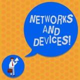 Het schrijven nota die Netwerken en Apparaten tonen Bedrijfsfoto demonstratie gebruikt om computers of elektronische andere aan t vector illustratie
